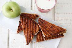 Apple Pie Panini (mascarpone/cream cheese, honey, butter, sliced apples, brown sugar, bread)