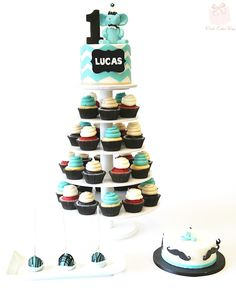 Mustache Themed First Birthday Cupcake Tower, Cake Pops, Smash Cake and Cake Topper
