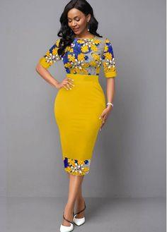 Women'S Yellow Half Sleeve Floral Knitting Spring Sheath Dress Vintage Midi Casual Dress By Rosewe Floral Knitting Half Sleeve Yellow Dress Short African Dresses, Latest African Fashion Dresses, African Print Dresses, African Print Fashion, Women's Fashion Dresses, Moda Afro, Half Sleeve Dresses, African Attire, Classy Dress