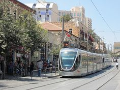 "Photo Challenge Theme: ""Urban"" – City center with light rail train, Jerusalem, Israel"