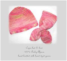Baby Alpaca Capri Hat & Bow Set by MondinCompany on Etsy, €65.00