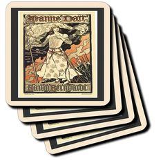 cst_43806_2 Florene Art Deco and Nouveau - Joan Of Arc Art Nouveau Poster In Peach n Black Frames - Coasters - set of 8 Coasters - Soft