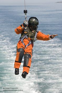 RAF Search and Rescue Winchman Practicing Drills by Defence Images, via Flickr