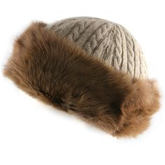 Brown Cashmere and Auburn Rabbit Fur Hat ($235) ❤ liked on Polyvore featuring accessories, hats, fur, cable hat, rabbit fur hat, feather cap, rabbit hat and cashmere cable knit hat