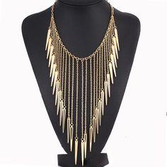 Pas cher 2016 New Colliers Bijoux Style Européen Vintage Tranchée De Mode Colliers Rivet Long…