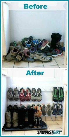 A coat rack hung low on the wall makes a space-saving shoe rack. And many other awesome diy home organization ideas! by Ирина Дубровская