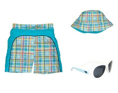 Boys Plaid Board Shorts, Bucket Hat, Babiators. #baby #beach #fun #summer