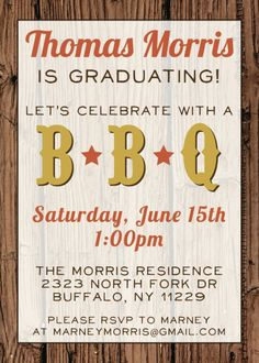 Barbecue Graduation Party Invitations Wording | custom bbq graduation party invitation