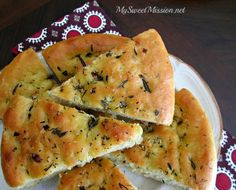 This could be the best Rosemary & Thyme Focaccia Bread Recipe! It's full of flavor & tastes like the breads you enjoy at a fancy Italian restaurant.   http://www.my-sweet-mission.com/2014/03/rosemary-thyme-focaccia-bread-recipe.html #Breadrecipes #Focacciabreadrecipes