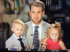 MVP! Bryce Harper with his nephew Colton & niece Harper on the MLB Network after it was announced that he won the NL MVP award. He is the youngest player ever unanimously chosen to win the award.