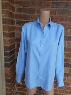LAUREN RALPH LAUREN 100% Linen Blouse M Shirt Top Logo Long Sleeve Blue #LaurenRalphLauren #Blouse #Casual