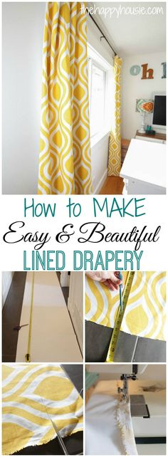 Easy DIY Lined Drapery Panels {ORC Week 5 How to make your own easy and beautiful lined drapery even if you aren't a master seamstress at No Sew Curtains, Drop Cloth Curtains, Rod Pocket Curtains, Lined Curtains, Cafe Curtains, Colorful Curtains, Hanging Curtains, Sheet Curtains, Roman Curtains