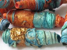 textile artist photography and mixed media - Carolyn Saxby Textile Art St Ives Cornwall Fabric Beads, Paper Beads, Fabric Art, Fabric Jewelry, Carolyn Saxby, Textiles, Handmade Beads, Handmade Jewelry, Fabric Manipulation