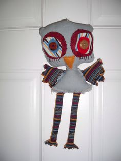 Owl / Recycled fabric owl /  stuffed toy. by Gizabelle4kids on Etsy. $30.00, via Etsy.