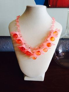 1940's celluloid pink flower necklace by silvermothpdx on Etsy
