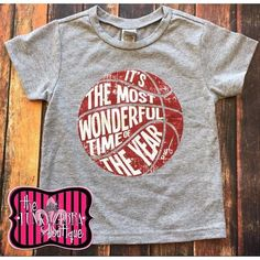 50% off It's The Most Wonderful Time of the Year Crimson Red Basketball Tee Size 2T-18