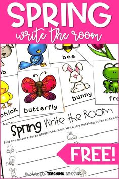 """Get your students up and moving with this fun, spring themed """"write the room"""" activity! It's the perfect addition to your literacy centers - and it's FREE! For grades K-1."""