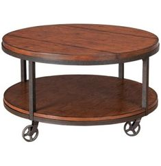 Hammary - Baja - Round Cocktail Table - Occasional Tables in MA, NH and RI at Jordans Furniture Living Room Redo, Living Room Remodel, Living Room Furniture, Furniture Stores, Round Wood Coffee Table, Living Room Inspiration, Cocktail Tables, Side Chairs, Dining Table
