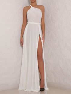 Vestido un hombro con abertura maxi -blanco