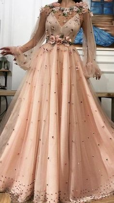 Floral Prom Dresses, Prom Dresses With Pockets, Prom Dresses Long With Sleeves, A Line Prom Dresses, Formal Evening Dresses, Ball Dresses, Pretty Dresses, Beautiful Dresses, Ball Gowns