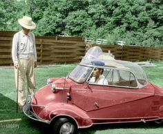 """Elvis Presley in 1956 at home in Memphis with his three-wheeled Messerschmitt """"bubble car"""" and Harley-Davidson motorcycle, and grandfather Jessie Presley. Photo by Phillip Harrington for Look magazine.  colorized by barnburner/shorpy.com"""