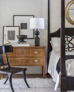 Not Your Grandma's Brown - The Artful Lifestyle Blog Bedroom Decor, Bedroom Inspo, Home Bedroom, Bedroom Interiors, Bedroom Furniture, Bedroom Ideas, Dresser As Nightstand, Vintage Nightstand, Bedside