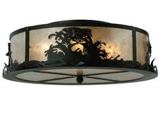 "22 Inch W Leaping Trout Flushmount. 22 Inch W Leaping Trout flush mount Theme:  RUSTIC LODGE ANIMALS COUNTRY MICA Product Family:  Leaping Trout Product Type:  CEILING FIXTURE Product Application:  FLUSH MOUNT Color:  BLACK/SILVER MICA Bulb Type: MED Bulb Quantity:  4 Bulb Wattage:  100 Product Dimensions:  8""H x 22""WPackage Dimensions:  NABoxed Weight:  8 lbsDim Weight:  42 lbsOversized Shipping Reference:  NAIMPORTANT NOTE:  Every Meyda Tiffany item is a unique handcrafted work..."