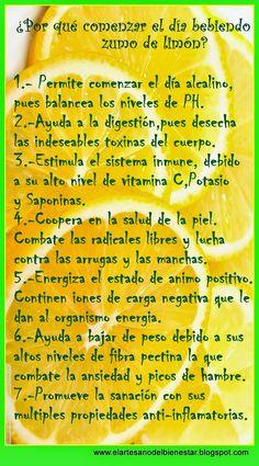 El Arte Sano del Bienestar: Inicia el día     con zumo de Limón...