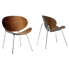 Mid-Century Walnut Accent Chair - Set of 2 | www.hayneedle.com