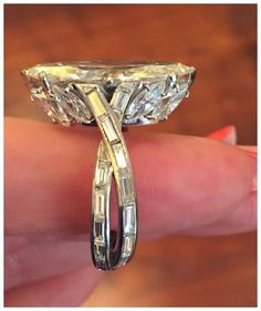 A stunning vintage marquise cut diamond ring by Sterlé. Circa 1950's. At FD Gallery.
