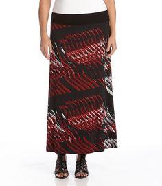 fc6f84014f Plus Size Contrast Waist Maxi Skirt-Print Maxi Skirt Style, Plus Size Maxi,