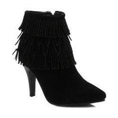 #Gamiss - #Gamiss Multilayerer Fringe Zipper Ankle Boots - AdoreWe.com