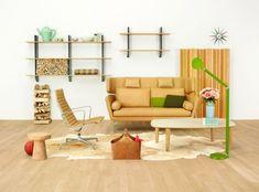 Yellow Brown Living Room Sofa Chair