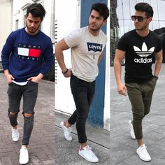 To buy: White/black adidas shoes Tommy sweatshirt Adidas t Dark green joggers (simple Matte color) Black jeans with knee holes (slim-skinny) White Jeans Outfit, White Skinnies, Black Jeans, Style Masculin, Teen Boy Fashion, Casual Outfits, Men Casual, Sport Outfit, Look Man