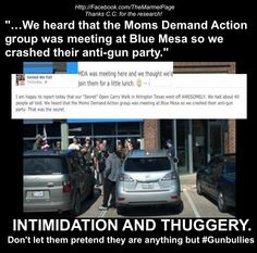 """Exclusive:  Steve Marmel Busts Lying Texas Gun Bullies Threatening Moms Demand Action! (IMAGE) - 'This isn't a protest. It's a siege. Where are the signs? The speakers? T-shirts? Slogans? Honestly… what's your statement besides """"We have guns, come on out if you dare?""""' - Way to make yourselves look sane people."""