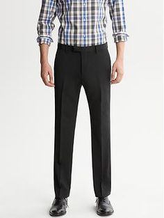 Tailored Slim-Fit Black Italian Wool Suit Trouser, Banana Republic