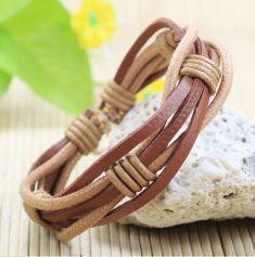 Handmade wrap genuine real leather bracelet men & friendship bangles for women bileklik Pulseira De Couro Masculina femme Handmade wrap genuine leather bracelet