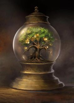 BOTANICAL GLOBE Inside the sealed glass globe is a miniature tree that never…