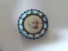 Vintage Edwardian Enamel Mourning Pin Brooch w Childs Picture