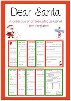 Dear Santa - Letter Writing Templates: These templates cater for all levels of writers, from those who may be writing their first letter and only be able to fill in the blanks to those who can write the whole thing all on their own. Christmas Holidays, Christmas Crafts, Letter Writing Template, Writing Station, Santa Letter, Holiday Themes, Teacher Newsletter, Teacher Pay Teachers, Dear Santa