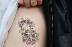 Small vintage style fox temporary tattoo by Tattoorary on Etsy, $6.00