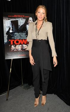 Blake Lively wearing Christian Louboutin Pigalle Python Pumps, Preen Spring 2010 RTW Bloom Blouse and Black Obi Trousers,