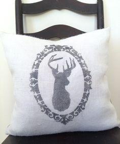 Reindeer Antler Silhouette Burlap & Chevron Pillow