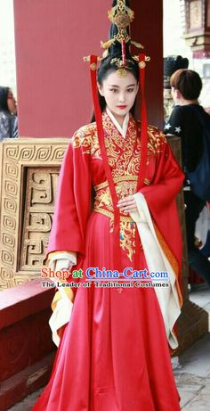 Chinese Clothing Traditional, Korean Traditional Dress, Traditional Dresses, Traditional Hairstyle, Imperial Clothing, Royal Clothing, Gothic Corset Dresses, Kaftan, Red Chinese Dress