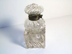 ANTIQUE Rare, CLEAR CRYSTAL, 2 Piece, INKWELL with SWIRL DESIGN, c. 1900