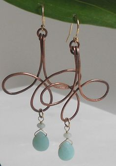 Copper and Gold Petal Earrings CopperGold and Amazonite by Ashar, $58.00