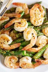 Shrimp and Asparagus Stir Fry with Lemon Sauce | Lunch/Dinner | Ingredients: shrimp, asparagus, ginger, garlic, chicken/shrimp stock, cornstarch, sugar, soy sauce/coconut aminos, lemon juice, lemon zest, salt, olive oil.