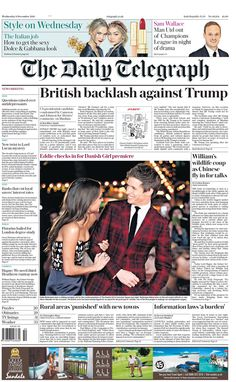 """""""Wednesday's Telegraph front page: British backlash against Trump The Daily Telegraph, Bbc, Wednesday, Champion, December, British, This Or That Questions, Twitter"""