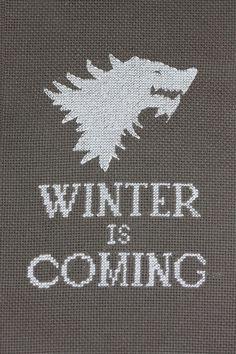 'Winter is Coming' cross stitch by Josie #gameofthrones #housestark #crossstitch #DIY