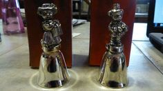2 Teddy Bear Metal Dinner Bells